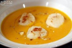 крем суп из тыквы с гребешком