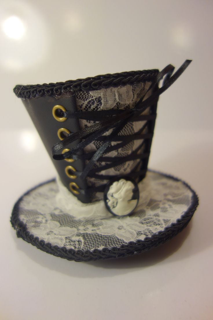 Victoriana Steampunk Mini Top Hat - Black Satin with White Lace. The Littlest Costume Shop in Melbourne
