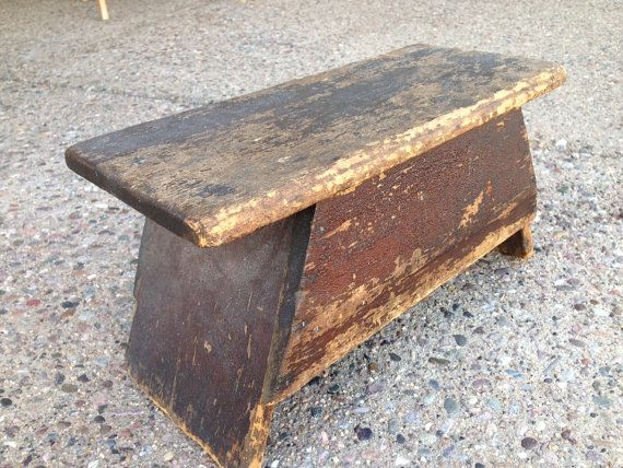 Old primitive small wooden stool by BarnandBungalow on Etsy, $40.00