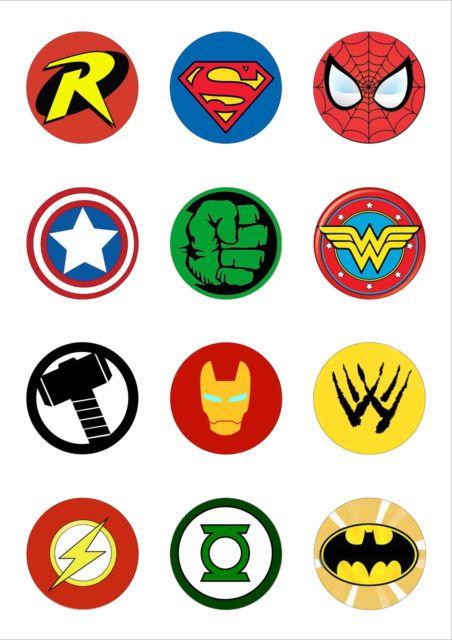 12 Round 50mm Circle Superhero Logo Edible Wafer Paper