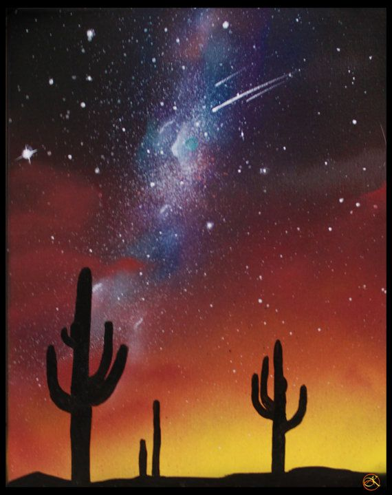 Space Painting - Galaxy art -Stars Cactus painting Arizona Landscape Desert by KanoelaniArt