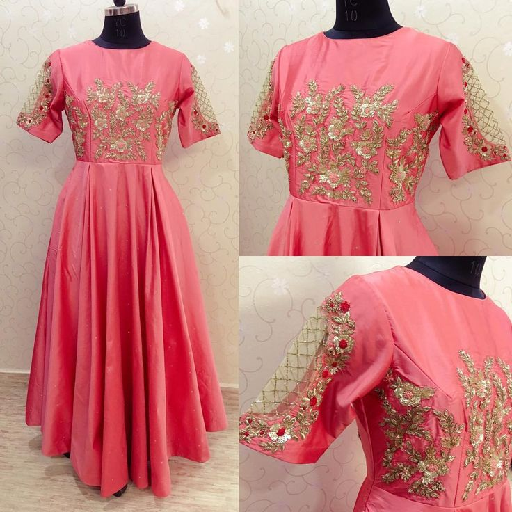 Long Frock!!!!! Beautiful blush pink color long gown with cut work on sleeves. Floret lata and bird design hand embroidery gold thread work. whatsapp to 9700616378 . 26 January 2018