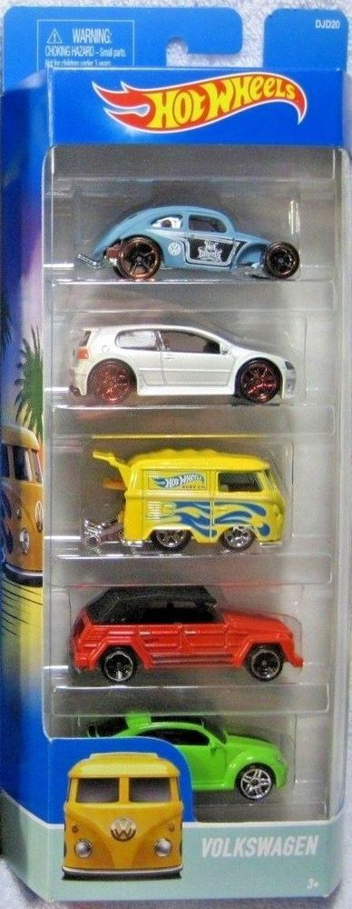 Hot Wheels Volkswagen 5 pack DJD 20 VW Kool Kombi Golf GTI Beetle Type 181 RSK…