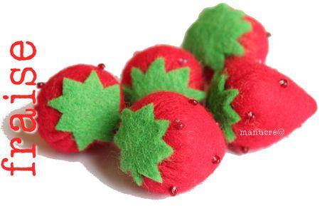 Pour la dinette, une fraise en feutrine à créer à partir du tuto en images.