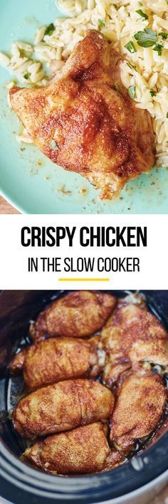 How to make juicy crispy chicken in your slow cooker. This EASY method makes chicken dinners and recipes so much better! works with boneless or bone in chicken breasts or thighs. Throw them in your crockpot for simple weeknight meals. It's like crispy southern deep fried chicken but without having to have them be baked (it's too hot to turn on the oven) or heating oil for frying.