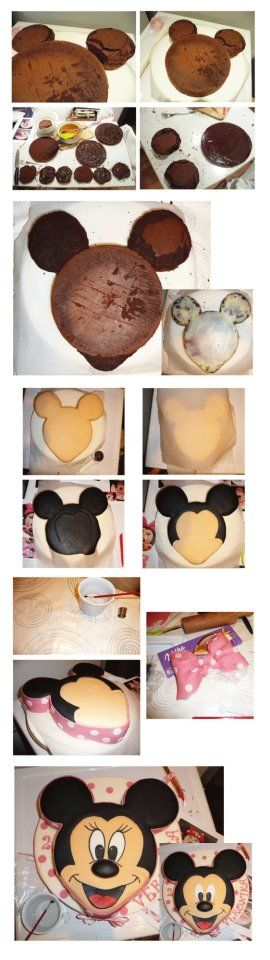 Minnie Mouse Face Shaped Cake Tutorial