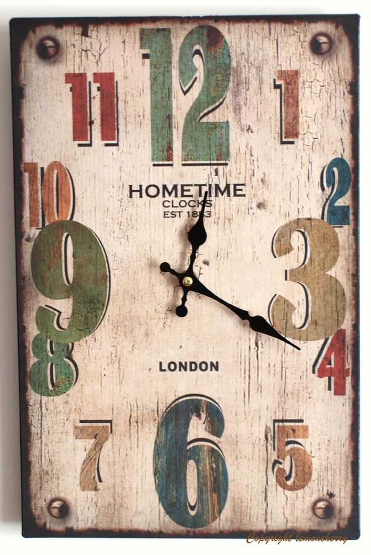 Wall Clock Distressed Antique Rustic Style Kitchen