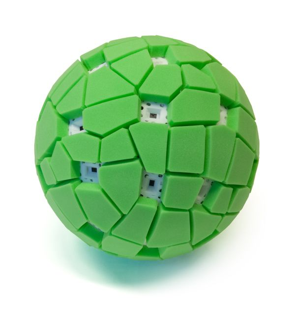 Throwable Panoramic Camera Ball by Jonas Pfeil via make: Toss the ball into the air. At the peak of its flight, a spherical panorama is captured by 36 mobile phone camera modules. Check out the video! #Camera #Jonas_Pfeil #Panoramic_Camera_Ball
