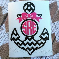 Monogram Anchor and Bow  Monogrammed Anchor  by WestTXDesigns