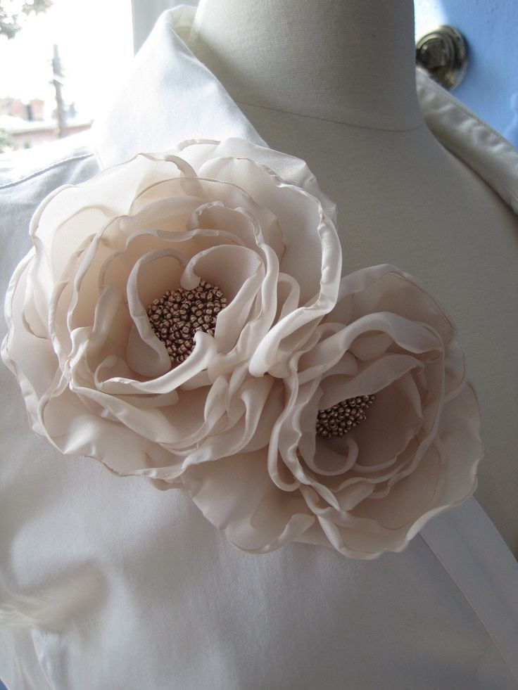 fabric flower brooch - double bloom corsage pin in nude with glass beaded center - Made To Order - LETITIA. $50.00, via Etsy.                                                                                                                                                     More