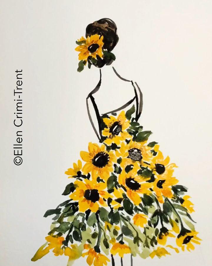 Sunflower dress lady watercolor