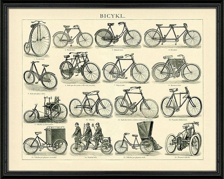 """Výjiemčný obraz - vývoj bicyklů od vysokého kola až po tzv. """"Rover Safery"""" (bezpečnostní kolo)."""
