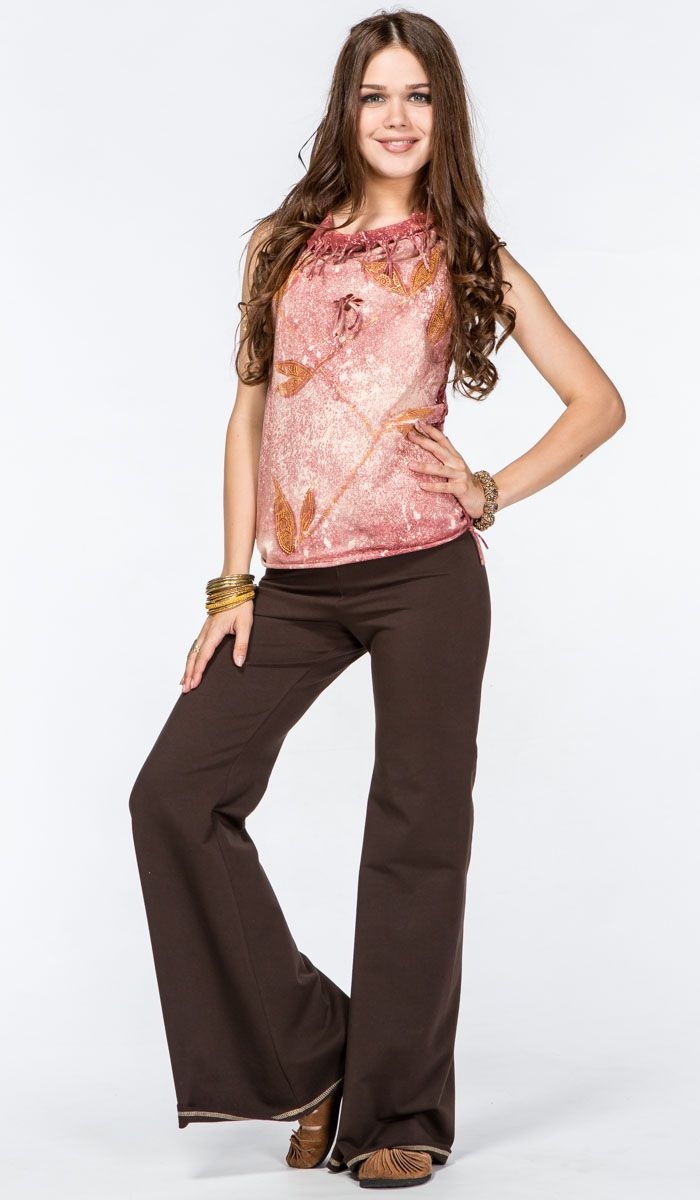 http://indiastyle.ru/products/bryuki-trubadur Коричневые брюки-клеш от ChintaMani в стиле хиппи, трайбл, гоа. Tribal, goa style trouthers  3680 рублей