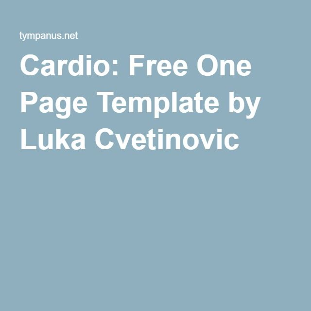 Cardio: Free One Page Template by Luka Cvetinovic