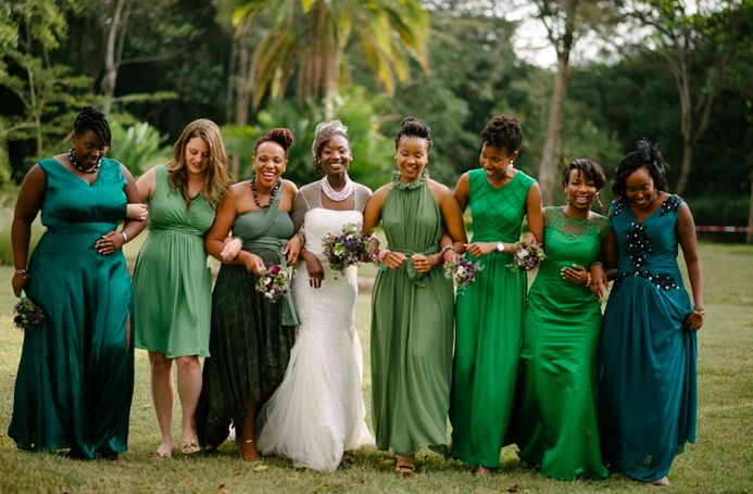 These jewel tones: | 31 Real-Life Bridal Parties Who Nailed The Mix 'N' Match Look