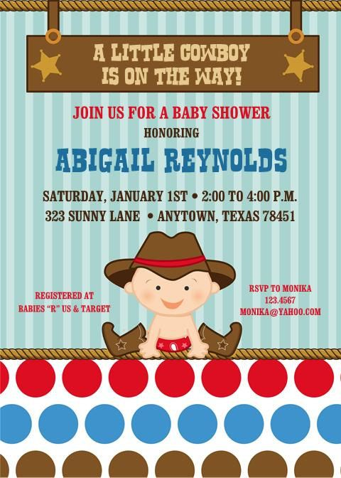 Little Cowboy Baby Shower or Birthday by PaperMonkeyCompany