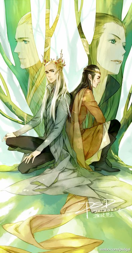 I absolutely love the layout of this. Different kinds of trees for different kinds of elves, leaders/kings of each and their offspring. Thranduil:Legolas / Elrond:Arwen.
