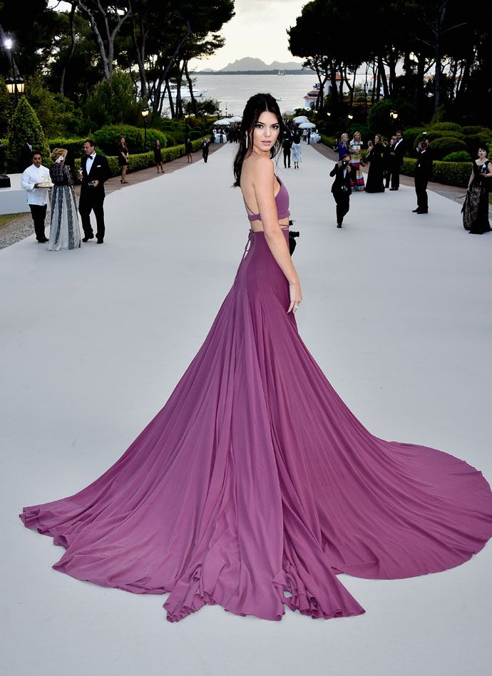 Kendall Jenner in a Calvin Klein gown with #Chopard jewels - 2015 amfAR Gala during the Cannes Film Festival on May 21, 2015