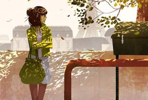 mujer al lado de un árbol esperando con paciencia
