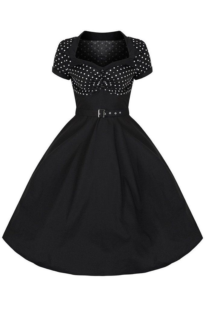 Black and White Polka Dot Top Rockabilly 50s Swing Dress