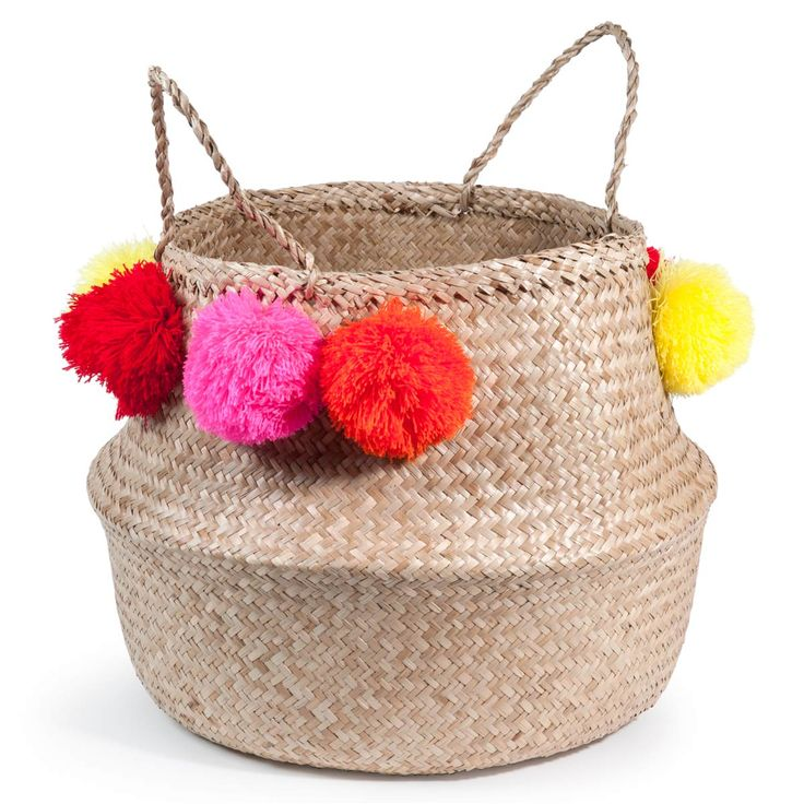 Paniere tailandese a pompon in fibra ...