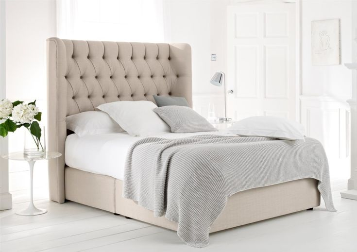 Beige Velvet Upholstered Storage Bed Frame With High Tufted ...