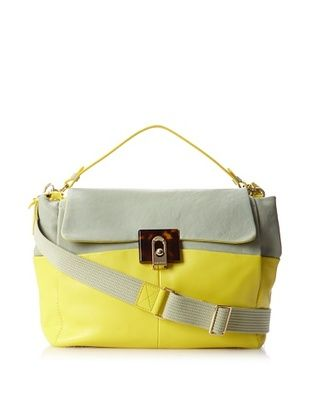 Lanvin Women's Medium Double Carry Bag, Sea Green/Yellow