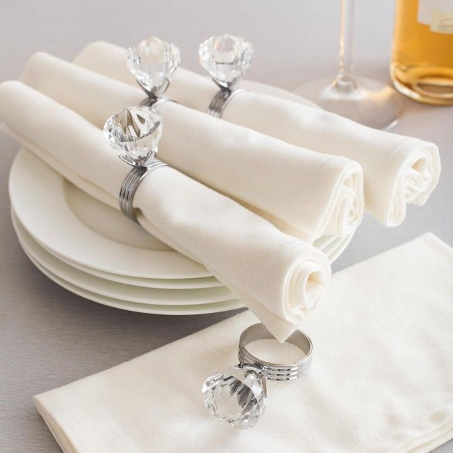 Add a little elegance to your holiday dining table with a set of Harman Diamond Napkin Rings.