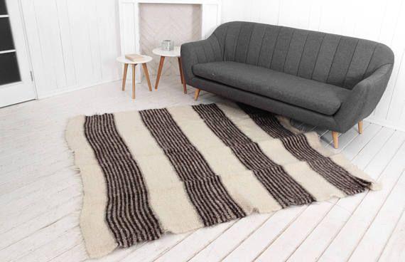 Handmade White Wool Rug, Striped pattern, Modern home decor, Scandinavian decor, Wool mat rug, Large white rug, Wool area rug, Indoor Rug