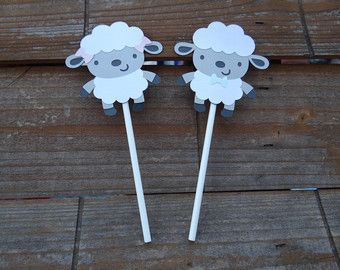 Lamb Baby Shower Cupcake Toppers  Little Lamb Cupcake Toppers