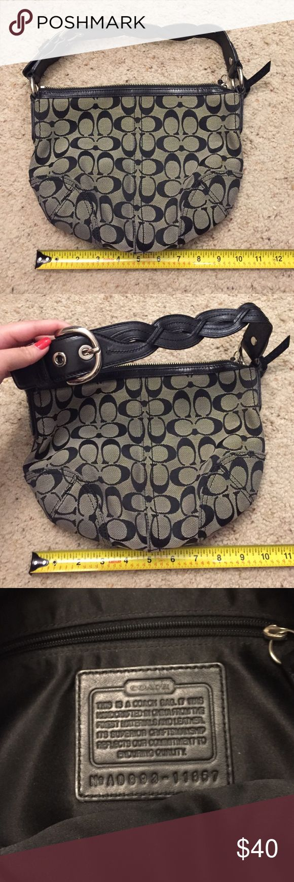 Medium black Coach purse Black Coach purse with braided leather handle. AUTHENTIC. I don't sell fake merchandise. No trades. Please make me an offer, but no lowballs. Coach Bags Hobos