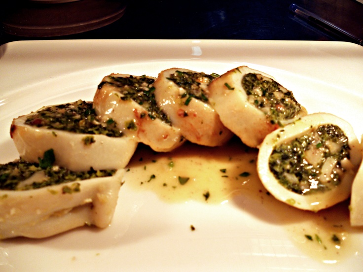 Squid stuffed with shrimps, baby octopus, spinach and pecorino cheese