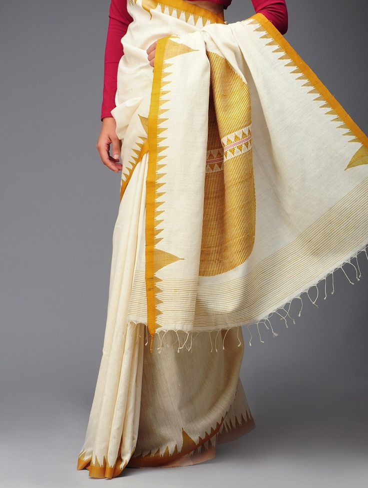 Organic Khadi Cotton-Tussar Silk Kumbha Saree #orissa #handwoven #triangle #white #mustard
