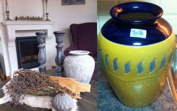 Een oude pot nieuw leven inblazen.... Pot gekocht bij de kringloop en zelf met tegellijm besmeren, likje kalkverf en TADAA!!   Herma