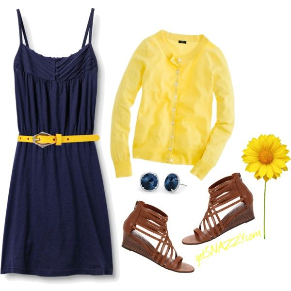 Navy & Yellow, created by getsnazzy on Polyvore