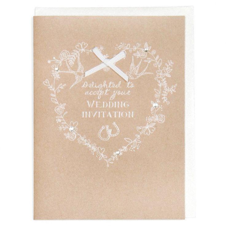 brown card for wedding invites%0A Kraft  u     white wedding acceptance card  Invitation