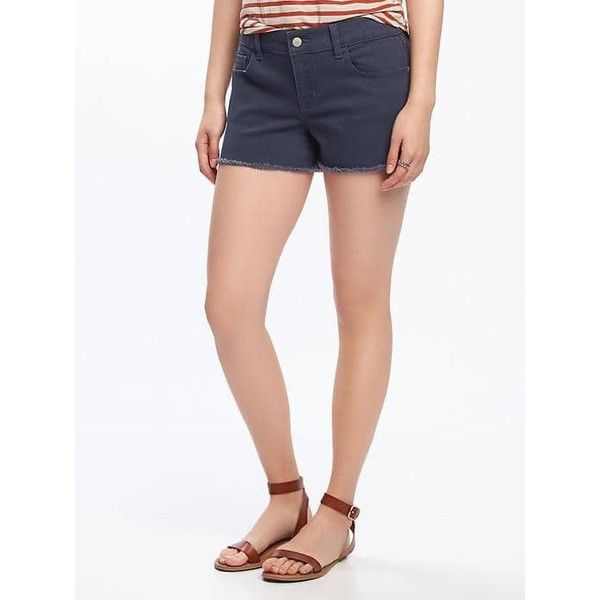 """Old Navy Womens Cut Off Denim Shorts  3"""" (20 CAD) ❤ liked on Polyvore featuring shorts, blue, denim jean shorts, blue shorts, denim cut-off shorts, old navy shorts and denim short shorts"""