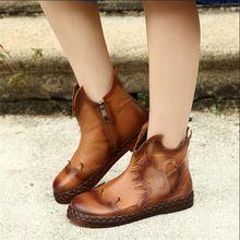 Старинные натуральной кожи ручной работы обувь осенью и зимой воловьей кожи вокруг пальца плоские каблуки сапоги женские удобные мягкие повседневная обувь(China (Mainland))