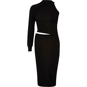 Black knitted cut-out bodycon dress