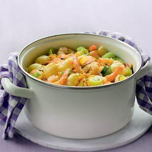 Recept - Pastaschelpjes met garnalen in prei-roomsaus - Allerhande