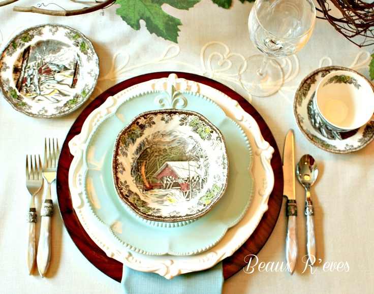 Johnson Brother's Friendly Village dishes mixed with aqua, brown, cream and lots of fall accessories