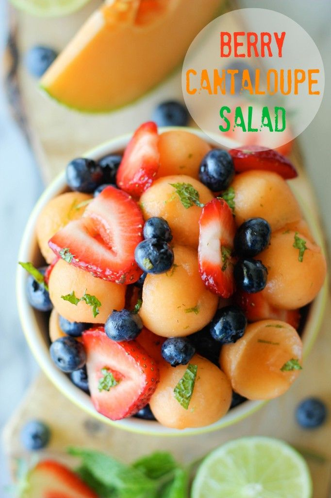 Berry Cantaloupe Salad - A refreshing, customizable fruit salad, perfect as an after-school snack!