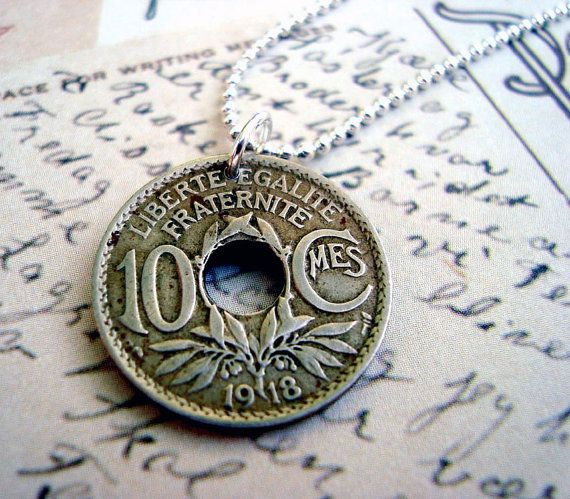 Coin Jewelry Antique France 10 centime COIN NECKLACE - French - Republique Francaise - franc - centime