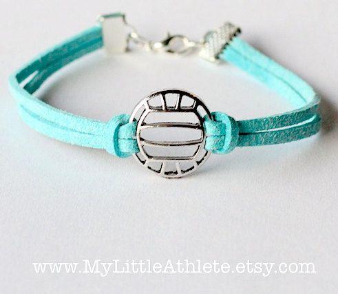 Volleyball Bracelet - Light Blue Faux Sued Charm by MyLittleAthlete