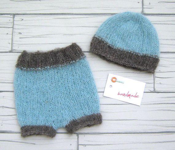 Newborn set Short and Hat Newborn photo props Handmade