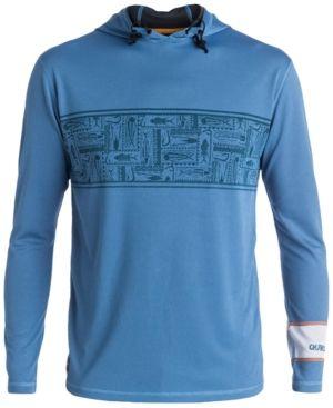 Quiksilver Waterman Men's Hooked Graphic-Print Hooded Rash Guard  - Blue XXL