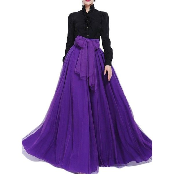 Bow Belt Solid Color Mesh Tulle Pleated High Waist Women Maxi Skirt ($12) ❤ liked on Polyvore featuring skirts, maxi skirt, high waisted long skirt, high waisted pleated maxi skirt, purple maxi skirt and high-waisted skirts