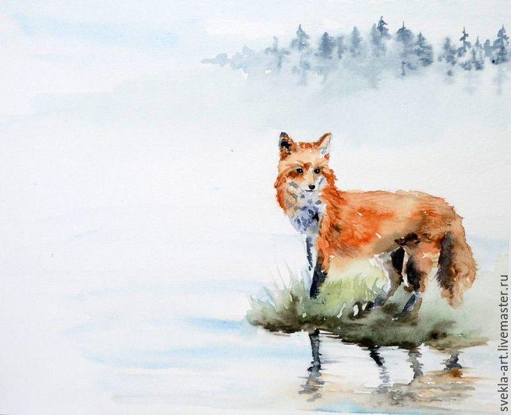 Купить Акварель Лисичка - разноцветный, акварельная картина, акварель, лиса, лисица, рыжий, картина в подарок