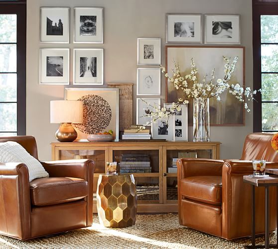 Irving Leather Swivel Armchair | Pottery Barn