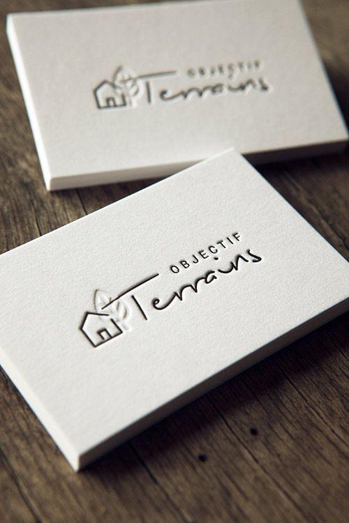 Cartes de visite impression noir en recto verso débossage sans encre sur coton épais / letterpress business cards printed in black on both sides onto thick cotton paper